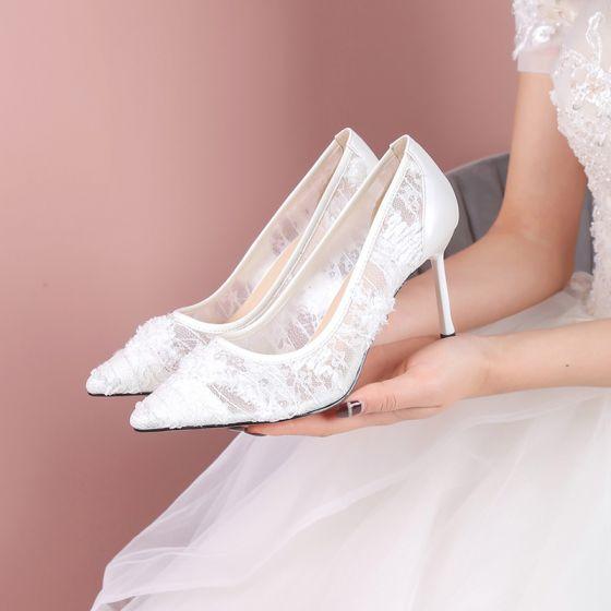 Modern / Fashion Red Wedding Bridesmaid Pumps 2020 Lace 7 cm Stiletto Heels Pointed Toe Wedding Shoes