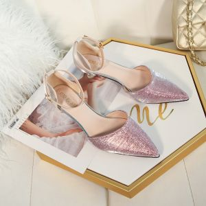 Charming Candy Pink Glitter Wedding Shoes 2020 Sequins Ankle Strap 5 cm Stiletto Heels Pointed Toe Wedding Heels