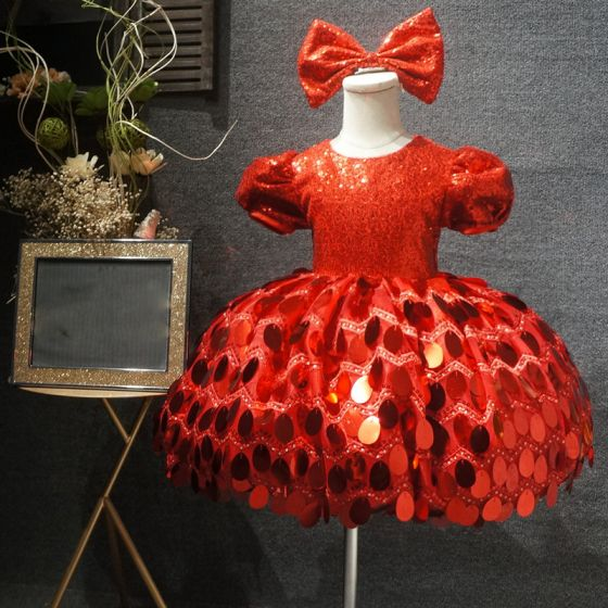 Fairytale Red Birthday Flower Girl Dresses 2020 Ball Gown Scoop Neck Puffy Short Sleeve Sequins Short Wedding Party Dresses