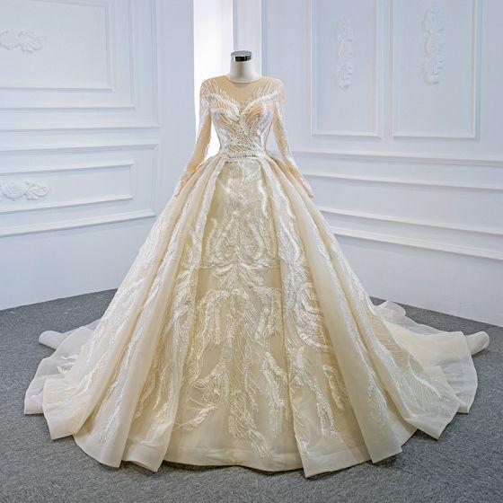 Luksusowe Szampan ślubna Suknie Ślubne 2020 Suknia Balowa Przezroczyste Wycięciem Długie Rękawy Aplikacje Z Koronki Cekiny Frezowanie Trenem Kaplica Wzburzyć