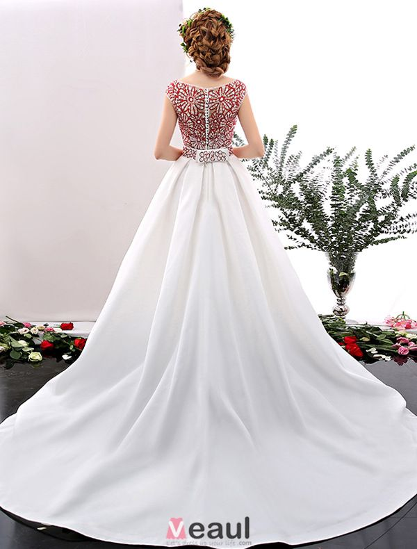 2016 Elegant Scoop Neckline Red Rhinestones Flowers Ruffled White Satin Prom Dress