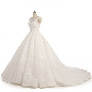 Amazing / Unique Champagne Wedding Dresses 2017 Ball Gown Lace Flower Sweetheart Backless Sleeveless Floor-Length / Long Wedding