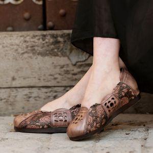 Chic / Belle 2017 Plat Marron Vert Gris Désinvolte Cocktail Soirée Jardin / Extérieur Cuir Tomber Printemps Été Hiver Percé Sandales Peep Toes / Bout Ouvert Sandales Femme