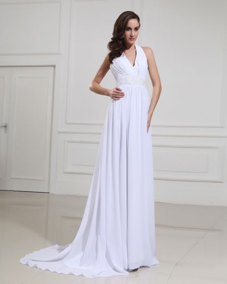 Chiffon Halter Court Empire Bridal Gown Wedding Dress