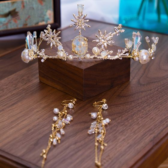 Elegant Guld Brudesmykker 2020 Legering Zircon Perle Rhinestone Tiara Tassel Øreringe Bryllups Accessories