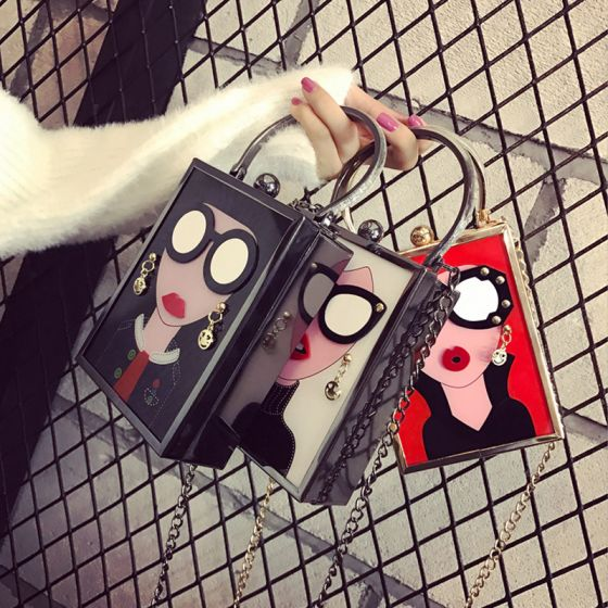 Modern / Fashion Chic / Beautiful 2017 Black Red White Leaf PU Beach Outdoor / Garden Clutch Bags