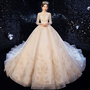 High-end Champagne Wedding Dresses 2020 Ball Gown High Neck Beading Rhinestone Sequins Lace Flower 3/4 Sleeve Backless Cathedral Train