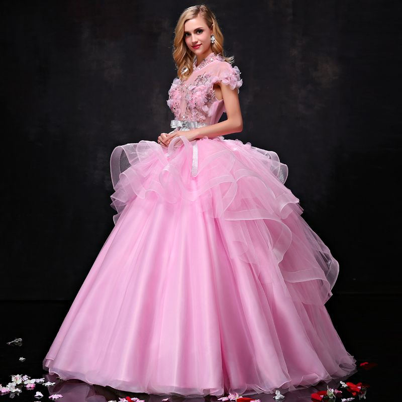 Chic / Beautiful Prom Dresses 2017 Lace Appliques Rhinestone Pearl Bow Sash Backless High Neck Short Sleeve Floor-Length / Long Candy Pink Prom Ball Gown