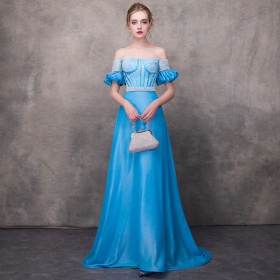 Chic / Beautiful Pool Blue Evening Dresses  2018 A-Line / Princess Off-The-Shoulder Short Sleeve Appliques Lace Pearl Sash Chapel Train Ruffle Backless Formal Dresses