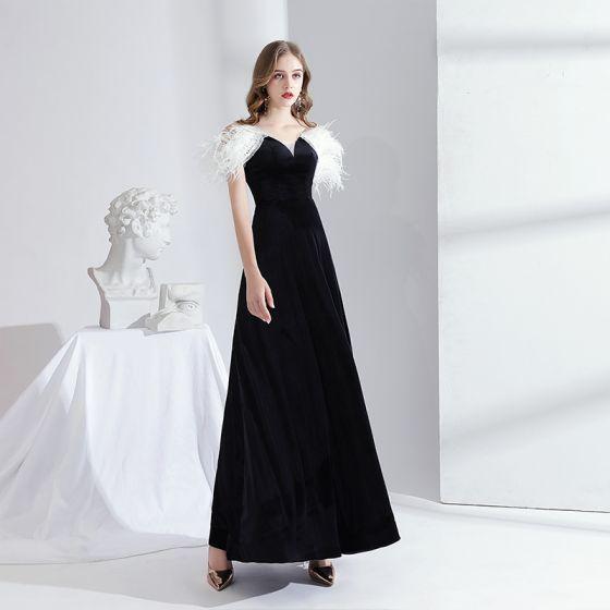 Moda Negro Suede Vestidos de noche 2020 A-Line / Princess Fuera Del Hombro Tassel Manga Corta Sin Espalda Largos Vestidos Formales