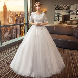 Chic / Beautiful Black Wedding Dresses 2018 A-Line / Princess Bow Lace Sequins Scoop Neck 1/2 Sleeves Floor-Length / Long Wedding