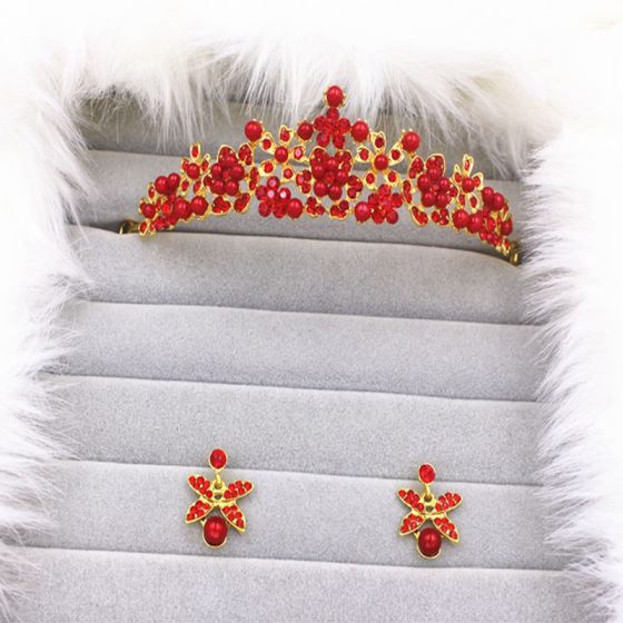 Shipping in 24 hours Same As First Picture Style B Style C Style D Style E Style F Style G Style H Red Silver Crystal Rhinestone Metal Tiara Earrings Necklace Chic / Beautiful 2017 Bridal Jewelry