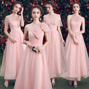 Erschwinglich Pearl Rosa Brautjungfernkleider 2019 A Linie Geflecktes Tülle Knöchellänge Rüschen Rückenfreies Kleider Für Hochzeit
