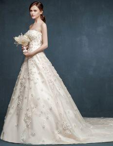 2015 Bridal Trailing Big Yards Flowers Wedding Dress