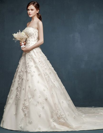 2015 Bridal Trailing Big Yards Flowers Wedding Dress