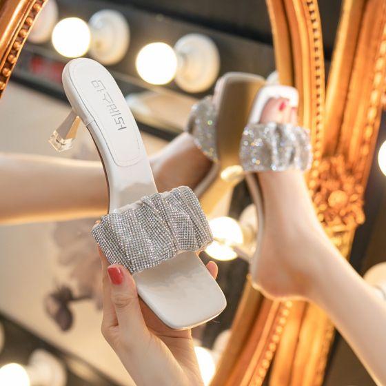 Sexy Beige Rhinestone Casual Womens Sandals 2021 Open / Peep Toe 6 cm Stiletto Heels Sandals High Heels