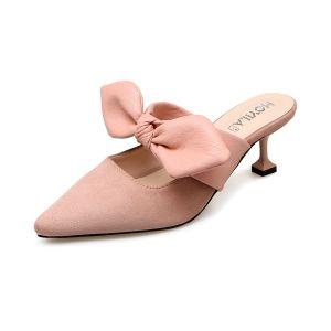 Chic / Belle Jardin / Extérieur Chaussures Femmes 2017 PU Noeud Talon Mid À Bout Pointu Sandales