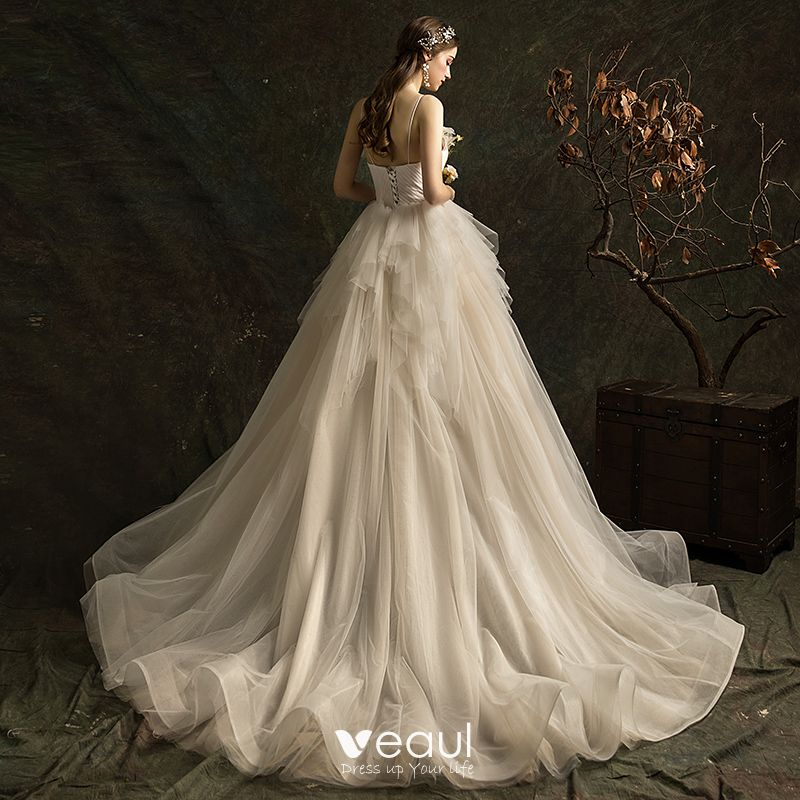 Affordable Ivory Wedding Dresses 2019 A-Line / Princess Spaghetti Straps Sleeveless Backless Court Train Cascading Ruffles