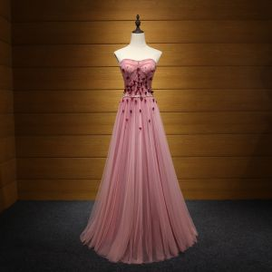 Chic / Beautiful Blushing Pink Evening Dresses  2017 A-Line / Princess Strapless Tulle Beading Appliques Backless Evening Party Formal Dresses