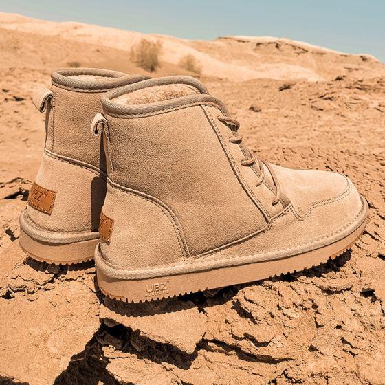 Schlicht Khaki Schneestiefel 2020 Woll Leder Schnüren Ankle Boots Winter Flache Runde Zeh Stiefel Damen