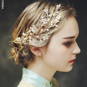 Elegante Gold Haarschmuck Braut  2017 Metall Perle Kopfschmuck