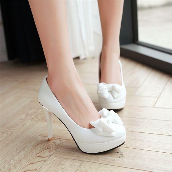 Elegant White Wedding Shoes 2018 Bow 10 cm Stiletto Heels Platform Round Toe Wedding Pumps