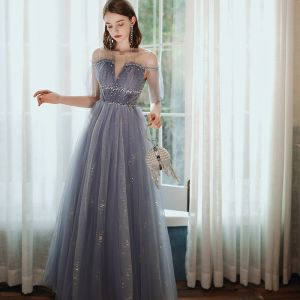 Chic / Beautiful Purple Prom Dresses 2020 A-Line / Princess Scoop Neck Beading Sequins Floor-Length / Long Short Sleeve Backless Formal Dresses