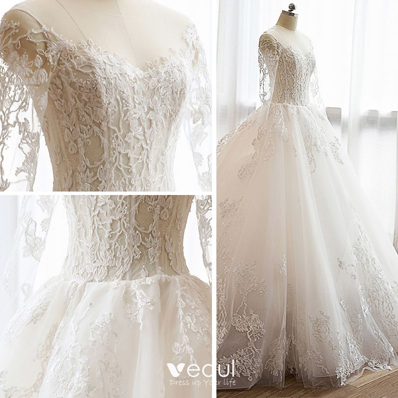 Long Sleeve Lace Wedding Dresses Ball Gown Backless: Affordable Modern / Fashion Church Wedding Dresses 2017