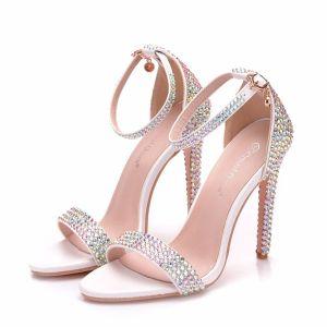 Chic / Beautiful White Wedding Shoes 2018 Rhinestone Ankle Strap 11 cm Stiletto Heels Open / Peep Toe Wedding High Heels