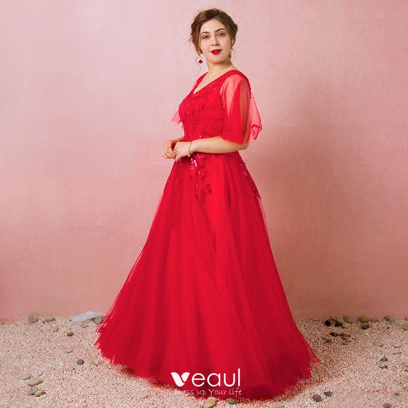 Sparkly Red Plus Size Evening Dresses 2018 A-Line / Princess V-Neck Tulle  Appliques Backless Beading Sequins Spring Evening Party Formal Dresses