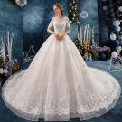 Classy Ivory Wedding Dresses 2019 A-Line / Princess Scoop Neck Beading Sequins Pearl Lace Flower Short Sleeve Backless Cathedral Train
