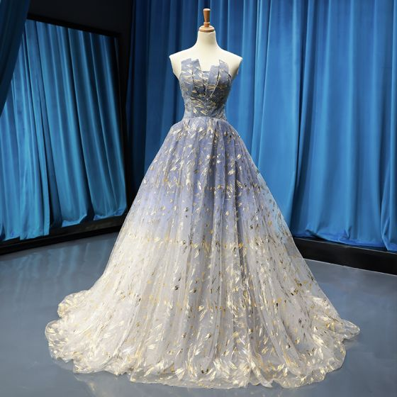 Modern / Fashion Sky Blue Gradient-Color Grey Prom Dresses 2019 A-Line / Princess Strapless Sleeveless Glitter Tulle Sweep Train Ruffle Backless Formal Dresses
