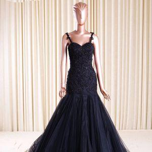 Chic / Beautiful 2017 Black Evening Dresses  V-Neck Lace Appliques Sequins Evening Party Party Dresses