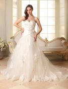 2015 A-line Sweetheart Beading Appliques Lace Satin Tulle Wedding Dress