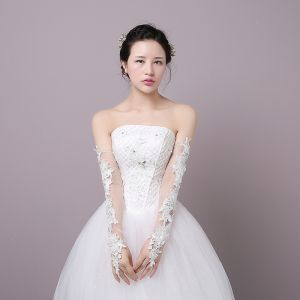 Schöne Weiß Hochzeit 2018 Schnüren Tülle Applikationen Brauthandschuhe