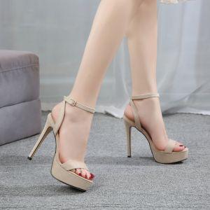 Sexy Beige Rave Club Womens Sandals 2020 Ankle Strap 12 cm Stiletto Heels Open / Peep Toe Sandals