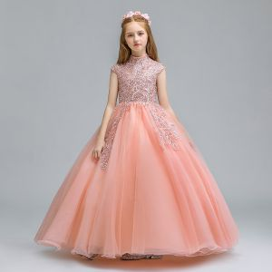 Vintage / Retro Pearl Pink Flower Girl Dresses 2019 Ball Gown High Neck Sleeveless Appliques Lace Glitter Sequins Floor-Length / Long Ruffle Wedding Party Dresses
