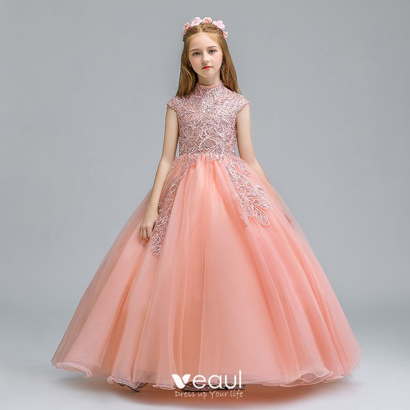 entire collection huge sale speical offer Vintage / Retro Pearl Pink Flower Girl Dresses 2019 Ball Gown High Neck  Sleeveless Appliques Lace Glitter Sequins Floor-Length / Long Ruffle  Wedding ...