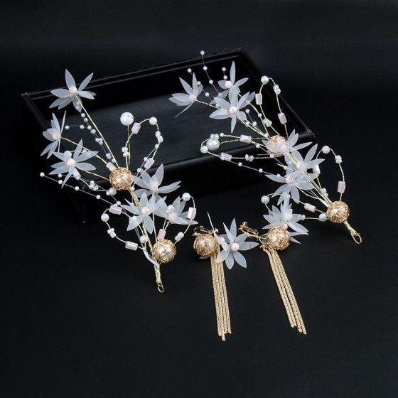 Mode Hvide Øreringe Hårpynt Beading Blomsten Perle Metal Galla Bryllup Accessories 2019