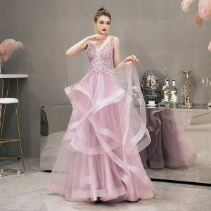 Illusion Blushing Pink Evening Dresses  2019 A-Line / Princess Deep V-Neck Sleeveless Pearl Rhinestone Beading Floor-Length / Long Cascading Ruffles Backless Formal Dresses
