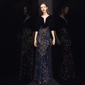 Chic / Belle Noire Velour Robe De Soirée 2020 Trompette / Sirène Col v profond 3/4 Manches Paillettes Longue Volants Robe De Ceremonie