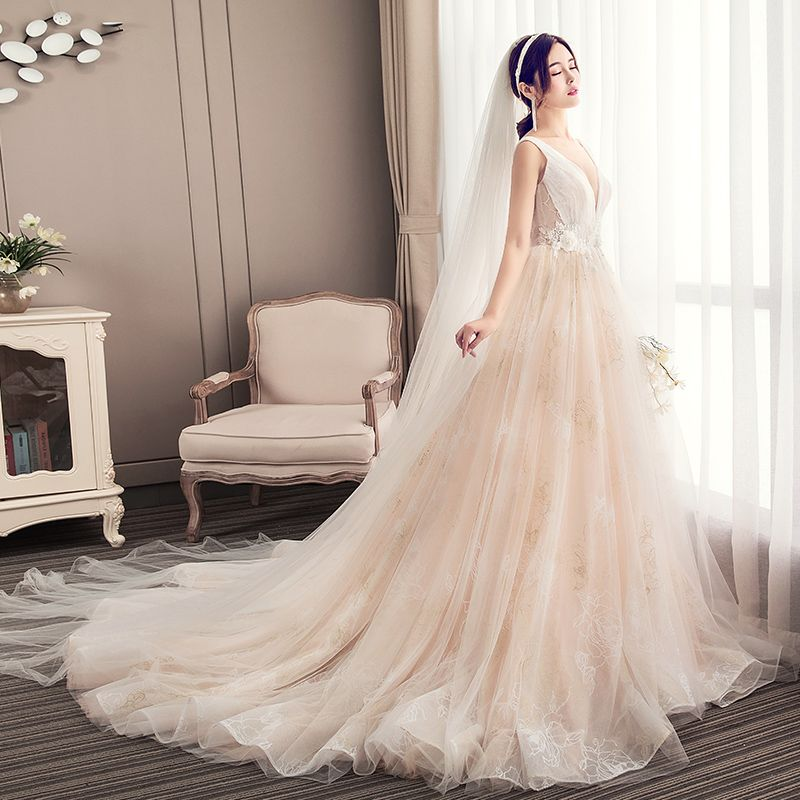 Sexy Champagne Wedding Dresses 2019 A-Line / Princess Scoop Neck Lace Flower Sleeveless Backless Chapel Train