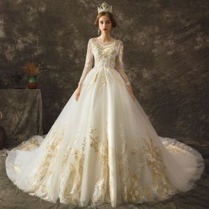 Elegant Ivory See-through Wedding Dresses 2019 A-Line / Princess Scoop Neck Long Sleeve Backless Gold Appliques Lace Chapel Train Ruffle
