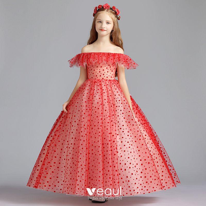śliczny Czerwone Sukienki Dla Dziewczynek 2019 Princessa Przy