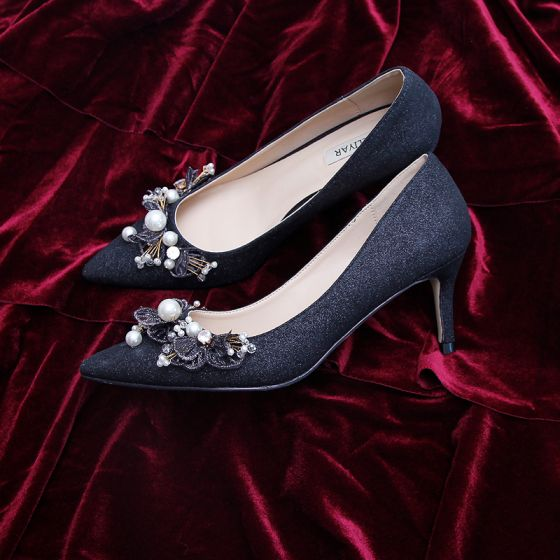 Elegant Black Cocktail Party Leather Glitter Pumps 2020 Pearl Lace Flower 7 cm Stiletto Heels Pointed Toe Pumps