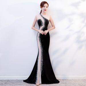 Sexy Black See-through Evening Dresses  2019 Trumpet / Mermaid Scoop Neck Sleeveless Beading Rhinestone Sweep Train Formal Dresses