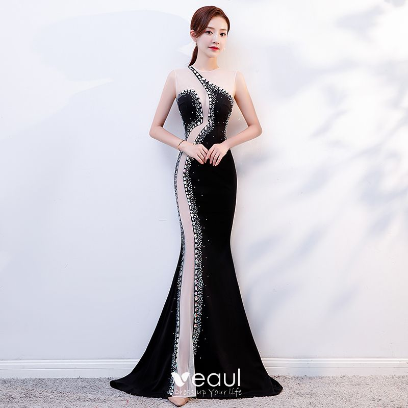 557fca00b0898 Sexy Black See-through Evening Dresses 2019 Trumpet / Mermaid Scoop Neck  Sleeveless Beading Rhinestone Sweep Train Formal Dresses