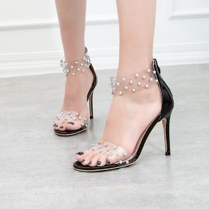Transparent Summer Black Cocktail Party Rivet Womens Sandals 2020 10 cm Stiletto Heels Open / Peep Toe Sandals