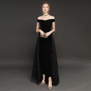Modern / Fashion Winter Black Suede Jumpsuit 2019 A-Line / Princess Off-The-Shoulder Short Sleeve Floor-Length / Long Backless Evening Dresses