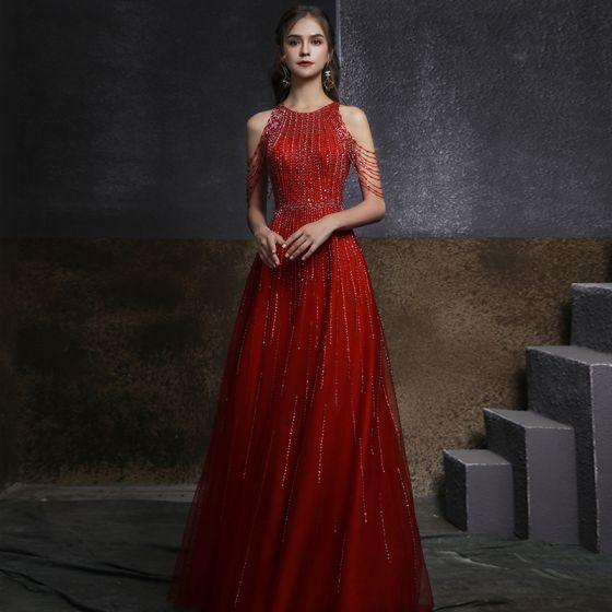 Piękne Czerwone Zaręczynowa Sukienki Na Bal 2020 Princessa Wycięciem Bez Rękawów Frezowanie Cekiny Długie Wzburzyć Sukienki Wizytowe
